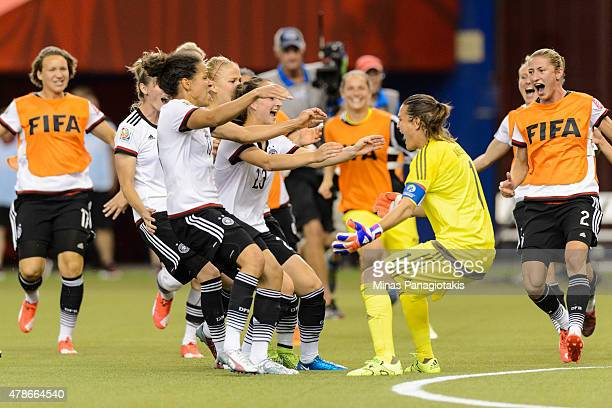 Germany celebrates their victory during the 2015 FIFA Women's World Cup quarter final match against France at Olympic Stadium on June 26 2015 in...