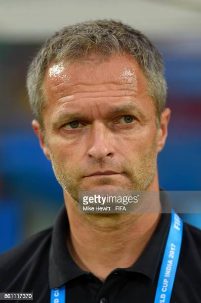 Germany coach Christian Wueck looks on during the FIFA U17 World Cup India 2017 group C match between Guinea and Germany at Jawaharlal Nehru...