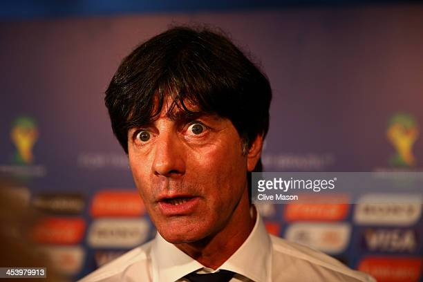 Germany coach Joachim Loew speaks to members of the media after the Final Draw for the 2014 FIFA World Cup Brazil at Costa do Sauipe Resort on...