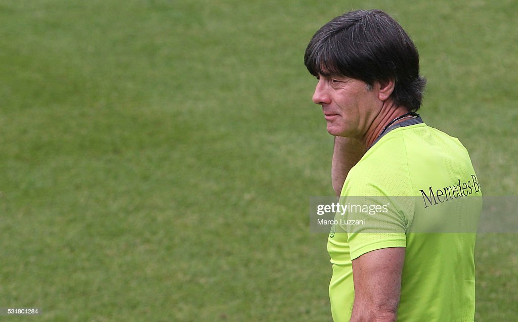 Germany coach Joachim Low looks on during the German national team's pre-EURO 2016 training camp on May 28, 2016 in Ascona, Switzerland.