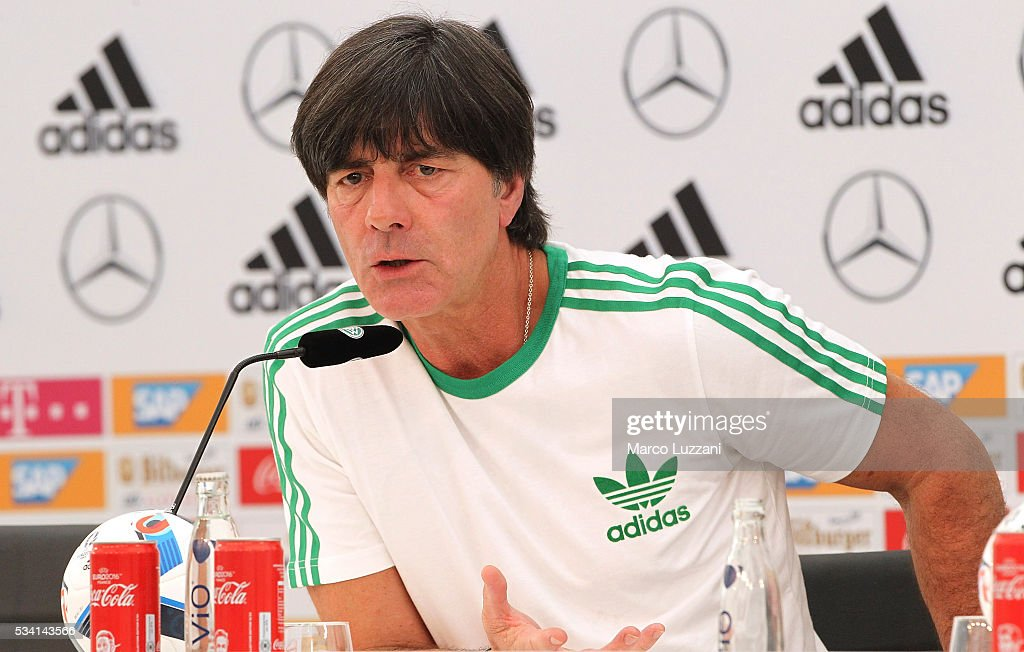 Germany coach Joachim Low speaks to the media during a press conference at the German national team's pre-EURO 2016 training camp on May 25, 2016 in Ascona, Switzerland.