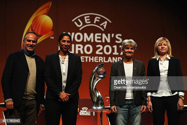 Germany Coach Steffi Jones Sweden Coach Pia Sundhage Italy coach Antonio Cabrini and Russia Coach Elena Fomina on stage during the UEFA Women's EURO...