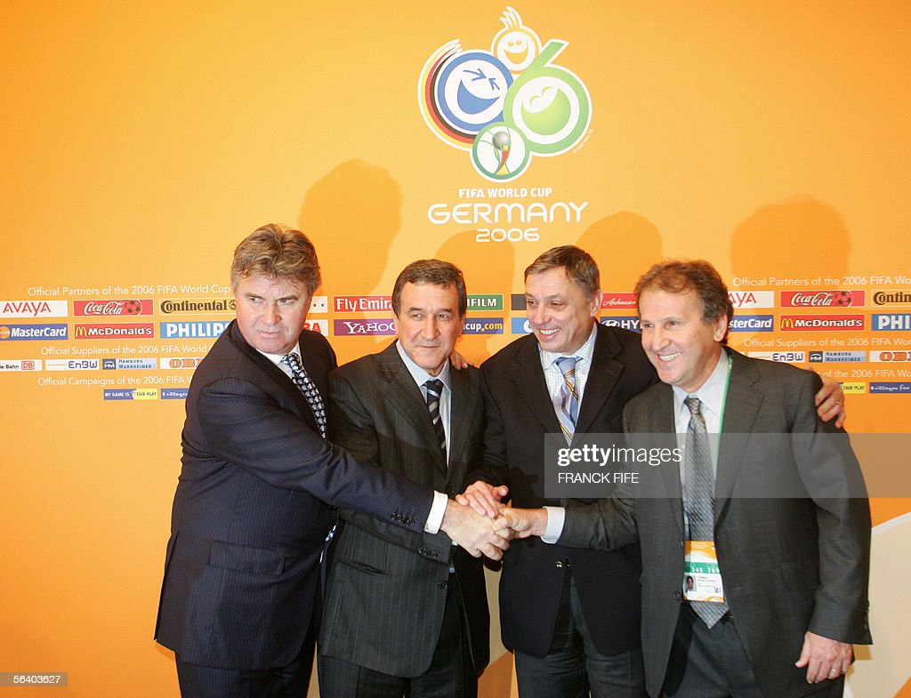 Coaches of World Cup group F with (LtoR) Australia's head coach Dutch Guus Hiddink, Brazil's head coach Carlos Alberto Parreira, Croatia's Zlatko Kranjcar and Croatia's Zlatko Kranjcar and Japan's Brazilian coach Zico pose, 09 December 2005 in Leipzig, after the final draw ceremony of the 2006 World Cup running from 09 June to 09 July 2006 in Germany.