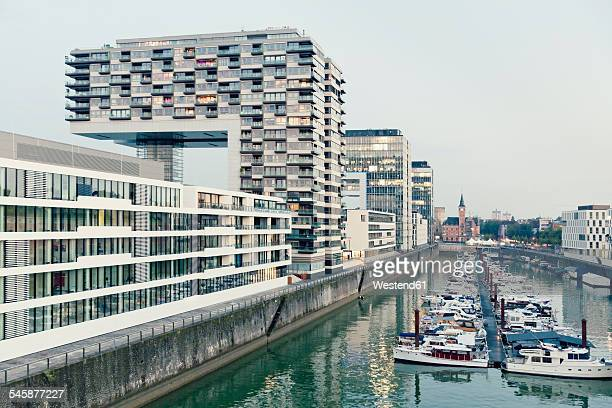 Germany, Cologne, crane houses and marina