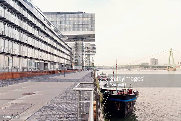 Germany, Cologne, crane houses at River Rhine