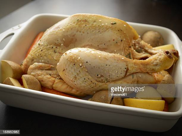 Germany, Cologne, Roast chicken in tray, close up