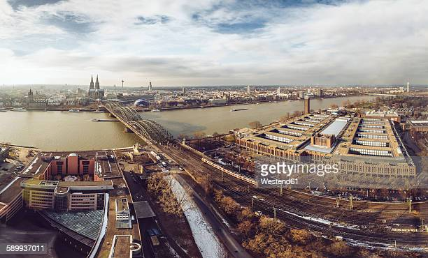 Germany, Cologne, view to the city with Rhine River and Hohenzollern Bridge from Deutz