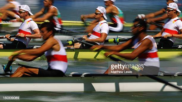 Germany compete in the Junipr Men's Eight during day two of the FISA Rowing World Senior Junior Championships at Plovdiv rowing course on August 15...