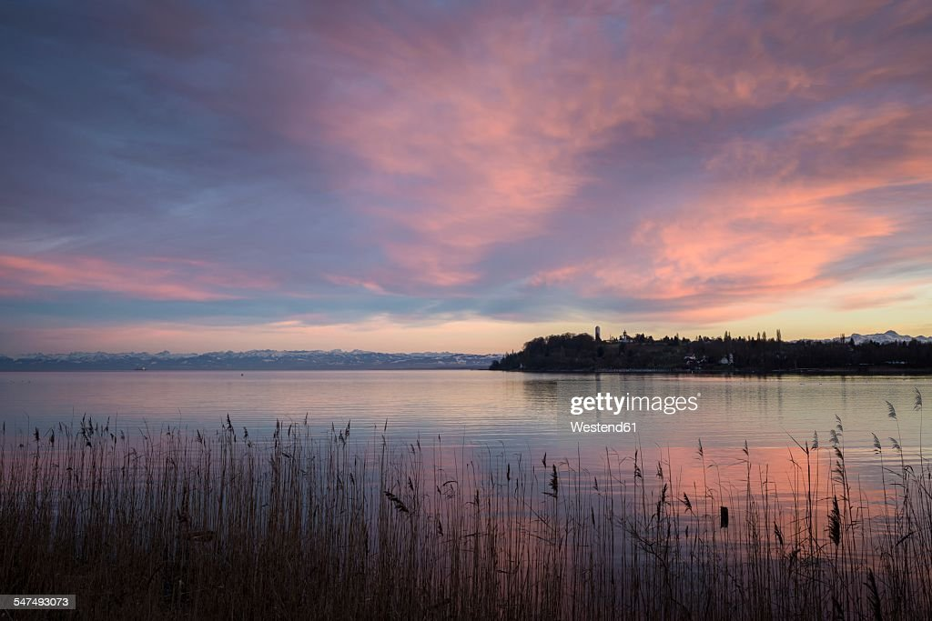 Germany, Constance district, twilight over Lake Constance with Swiss Alps at horizon