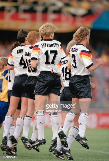 Germany defend a free kick during the UEFA European Championships 1992 SemiFinal between Sweden and Germany held at the Rasunda Stadium on June 21...
