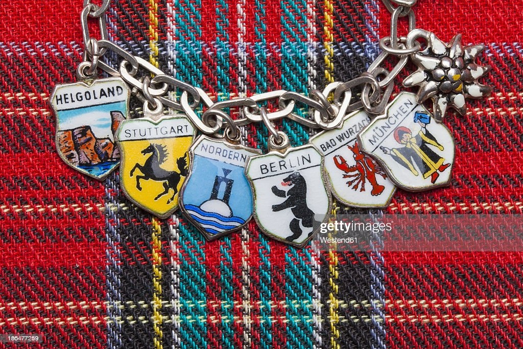 Germany, Different german holiday destinations on charm bracelet