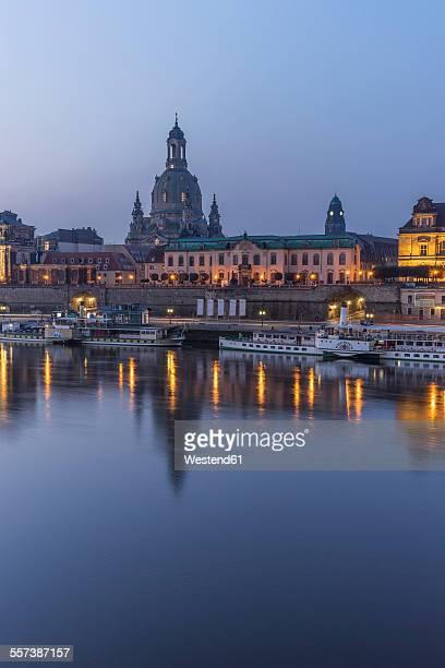 Germany, Dresden, view to Dresden Frauenkirche and Sekundogenitur in the morning
