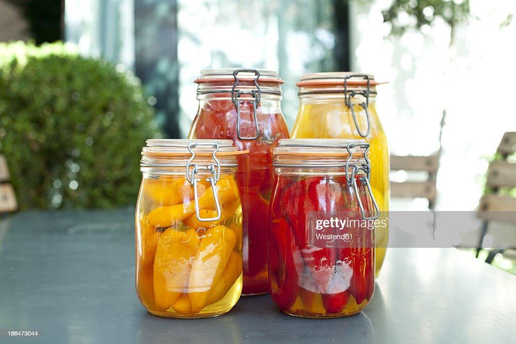 Germany, Duesseldorf, Pickles and  vegetables in glass jar