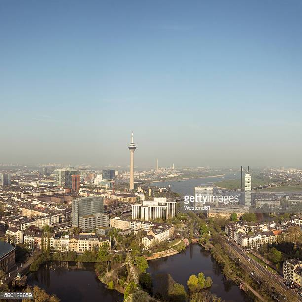Germany, Dusseldorf, aerial view of the city with River Rhine and Rhine Tower