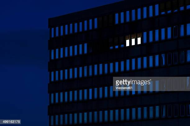 Germany, Dusseldorf, Lighted windows in office building