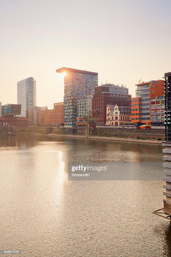 Germany, Dusseldorf, Media Harbour, Old warehouses at Julio Levin Ufer