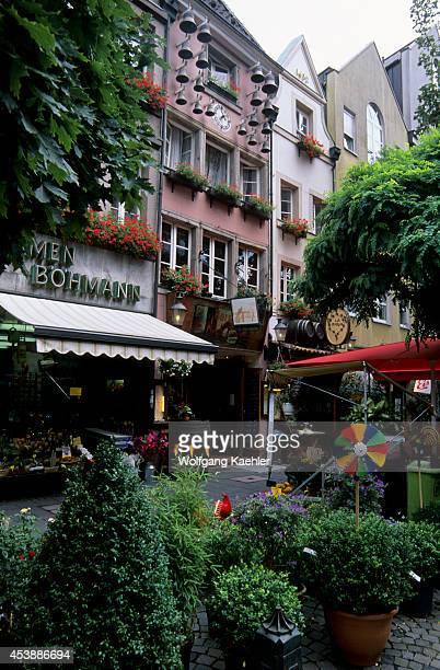 Germany Dusseldorf Old Town Street Scene Flower Shop