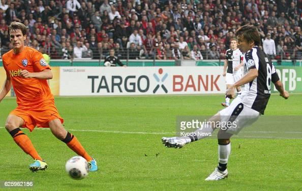 FRANKFURT Germany Eintracht Frankfurt midfielder Takashi Inui scores in the 24th minute of a secondround German Cup soccer match against VfL Bochum...