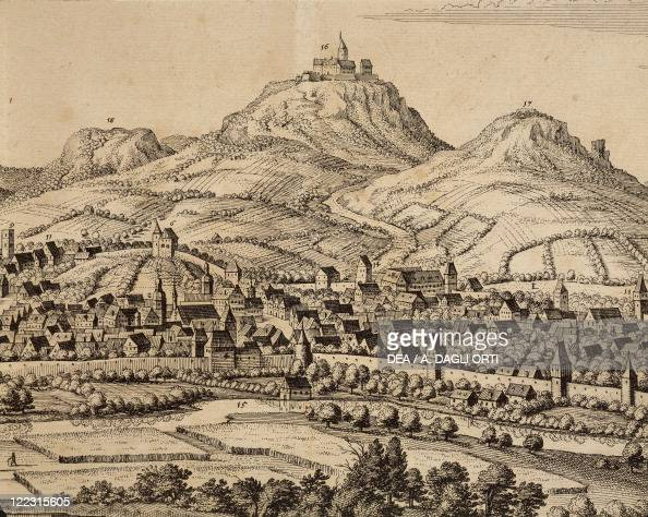 Germany Eisenach View of the town with the Wartburg Castle 1650