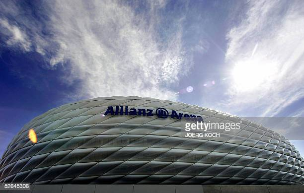 Exterior view of the new AllianzArena stadium in Munich after its name has been mounted on the outside 18 April 2005 The whole name seen on the...