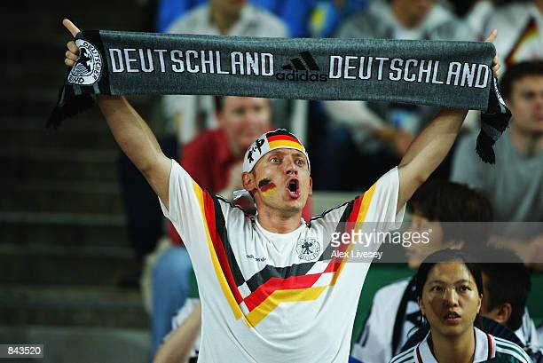 Germany fan during the FIFA World Cup Finals 2002 Group E match between Germany and Cameroon played at the Shizuoka Stadium Ecopa in Shizuoka Japan...