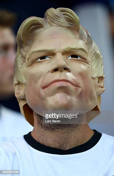 Germany fan wearing Oliver Khan mask enjoys the atmosphere prior to the UEFA EURO semi final match between Germany and France at Stade Velodrome on...