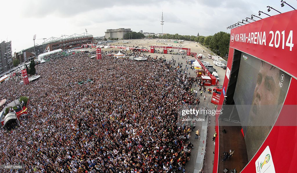Germany fans celebrate during a public viewing at Heiligengeistfeld watching the 2014 FIFA World Cup match between Germany and Portugal on June 16, 2014 in Hamburg, Germany.