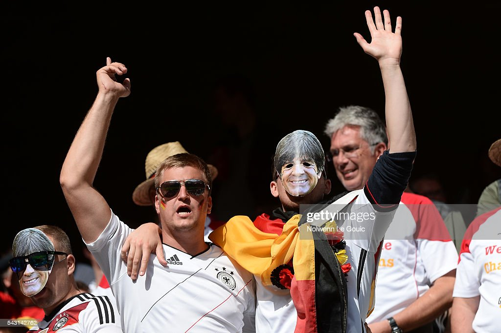 Germany fans during the European Championship match Round of 16 between Germany and Slovakia at Stade Pierre-Mauroy on June 26, 2016 in Lille, France.