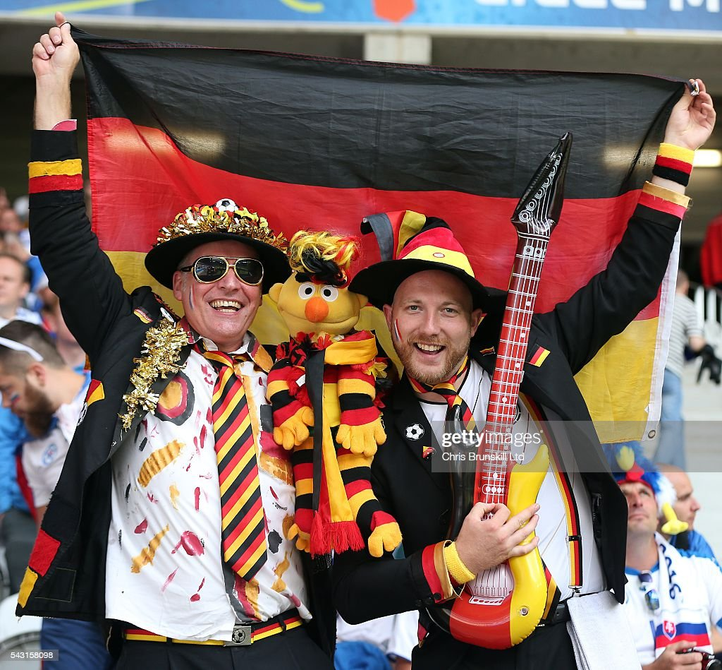 Germany fans look on during the UEFA Euro 2016 Round of 16 match between Germany and Slovakia at Stade Pierre-Mauroy on June 26, 2016 in Lille, France.