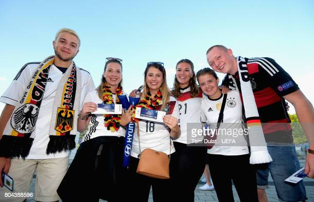 Germany fans pose prior to the UEFA European Under21 Championship Final between Germany and Spain at Krakow Stadium on June 30 2017 in Krakow Poland