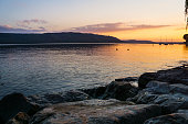 Germany, Fantastic sunset at coast of lake constance in summer