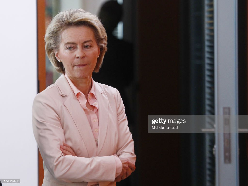 Germany Federal defense minister Ursula Von Der Leyen (CDU) arrives for the weekly cabinet meeting in the German Chancellery on May 3, 2017 in Berlin, Germany. Germany's minister von der Leyen cancelled a US trip scheduled for today to visit a military base following a scandal over a far-right soldier who allegedly plotted an attack while posing as a Syrian refugee.