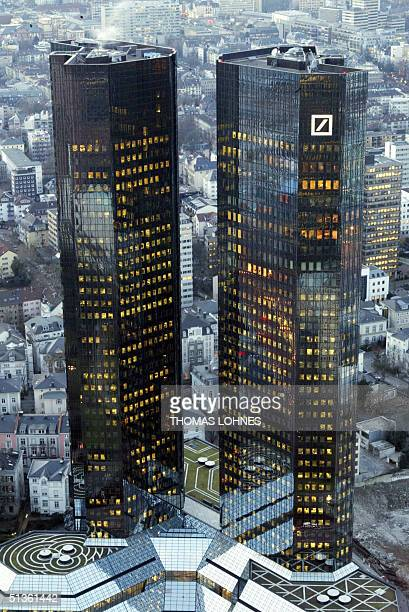 FILES Picture taken 04 February 2003 in Frankfurt/Main shows the two towers of the headquarters of Germany's biggest bank the Deutsche Bank Deutsche...
