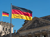 two Germany flags on top of the Reichstag