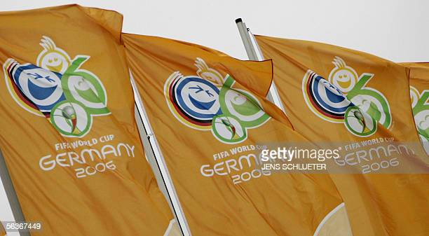 Flags displaying the logo of the FIFA Football World Cup 2006 wave 07 December 2005 near the Leipzig fair grounds The eastern German city of Leipzig...