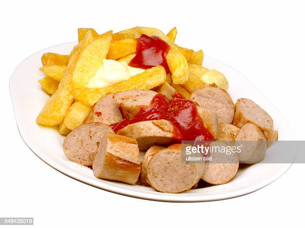 Food sausage fried curried sausage with french fries