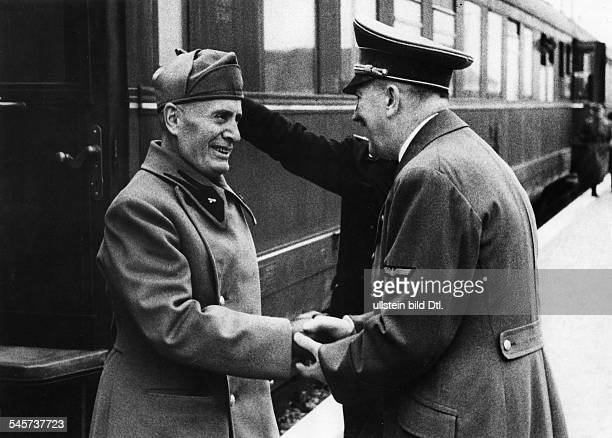 Foreign Affairs Hitler/Mussolini 1944 Adolf Hitler receipting Benito Mussolini as head of state of the 'Soziale Republic Italy at Palace Klessheim...