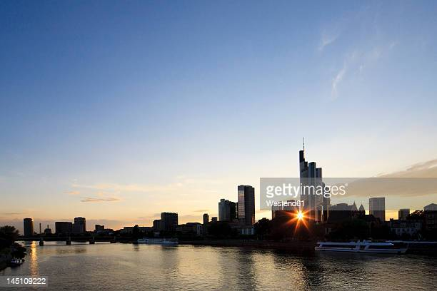 Germany, Frankfurt, View of city at sunset
