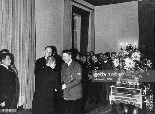 Germany Free State Prussia Berlin Adolf Hitler thanking the Japanese foreign minister Matsuoka for the Tenno's gift the lacquered replica of an old...