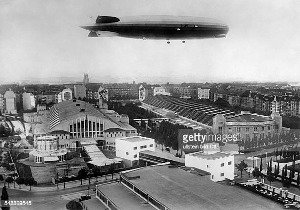 Germany Free State Prussia Berlin Berlin Airship 'Graf Zeppelin' flying over the fairground halls at the Kaiserdamm 1928 Photographer Alfred Gross...