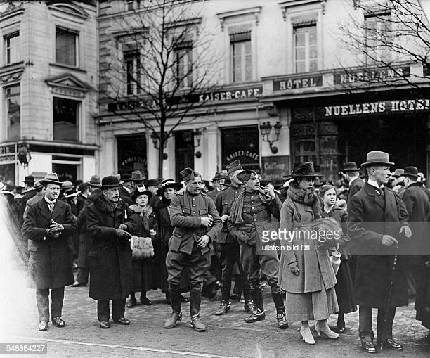 Germany Free State Prussia RhineProvince Aachen AixlaChapelle After the occupation by Belgian troops at a tram stop 'Am Graben' Photographer Frankl...