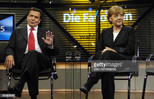 German Chancellor Gerhard Schroeder of the Social Democrats Party and Angela Merkel leader of the Christian Democratic Union party and candidate for...