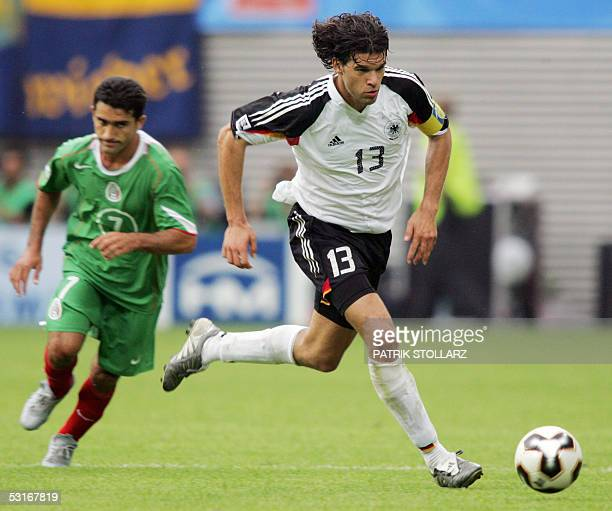 German midfielder Michael Ballack runs after the ball during the Confederations cup third place final football match Germany vs Mexico 29 June 2005...