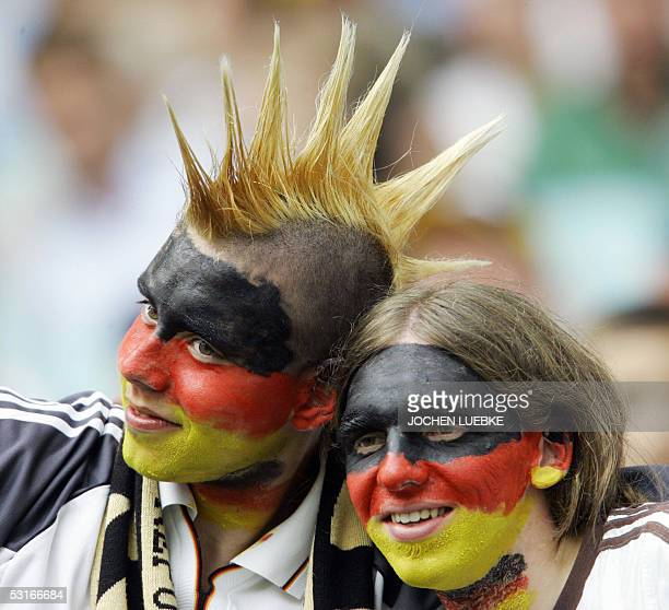 German supporters are pictured before the Confederations cup third place final football match Germany vs Mexico 29 June 2005 at the Zentral stadium...