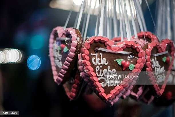 Germany, gingerbread hearts with I love you