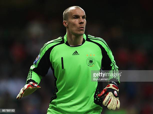 Germany goal keeper Robert Enke in action during the FIFA 2010 World Cup Qualifier match between Wales and Germany at the Millennium Stadium on April...