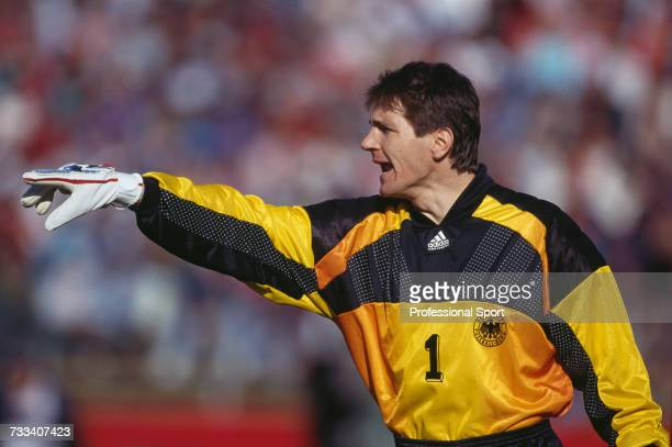 Germany goalkeeper Bodo Illgner directs instructions to German defenders during the international friendly match between United States and Germany at...