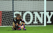 Germany Goalkeeper Merle Frohms sits dejected at the final whistle of the FIFA U17 Women's World Cup 2012 SemiFinal match between Korea DPR and...