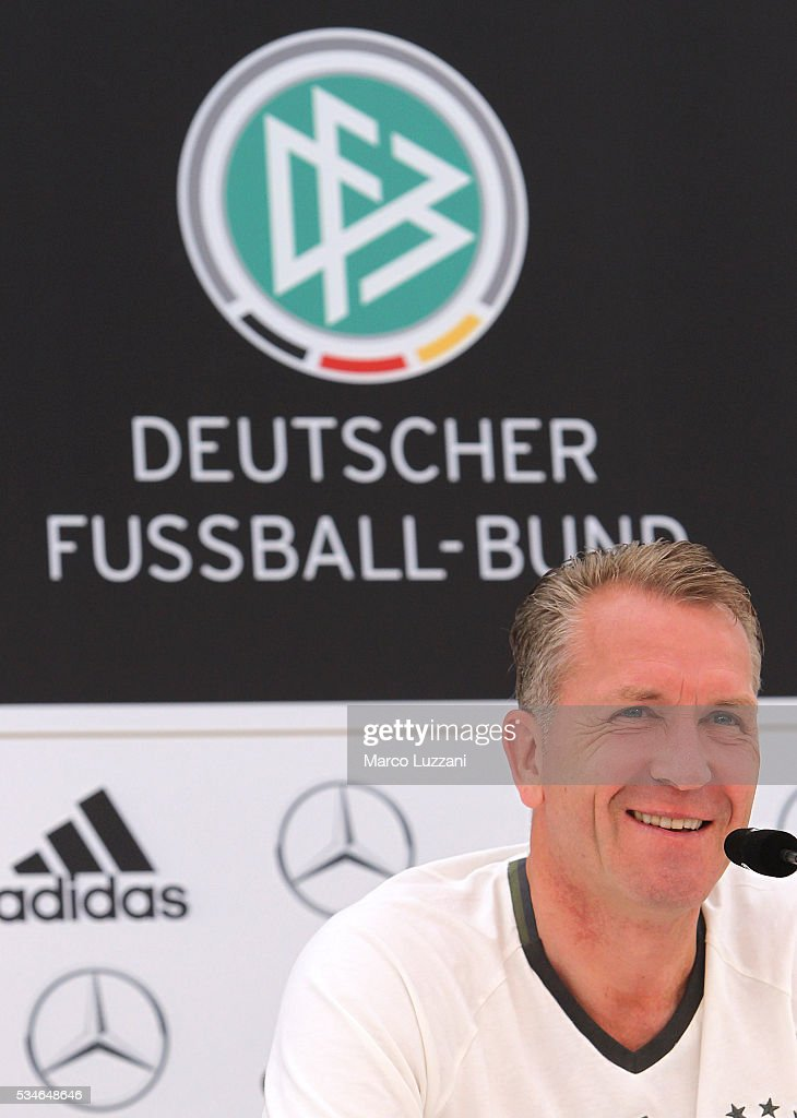 Germany goalkeeping coach Andreas Kopke speaks to the media during a press conference at the German national team's pre-EURO 2016 training camp on May 27, 2016 in Ascona, Switzerland.