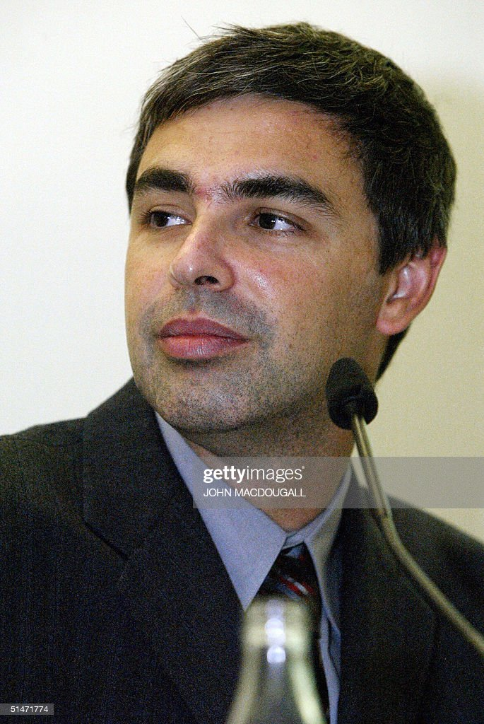 Google co-founder <a gi-track='captionPersonalityLinkClicked' href=/galleries/search?phrase=Larry+Page&family=editorial&specificpeople=753550 ng-click='$event.stopPropagation()'>Larry Page</a> addresses a press conference at the Frankfurt Book Fair 07 October 2004.